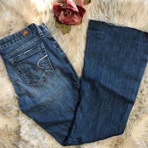 American Eagle Jeans Flare Leg Raw Hem 6